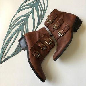 "Vince Camuto Brown Leather ""Tenley"" Moto Booties"